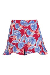 Topshop Red Palm Print Frill Shorts Red