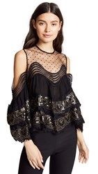 Costarellos Illusion Ruffled Yolk Top Black Gold