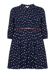 Yumi Curves Cat Print Tunic Belt Dress Navy