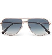 Tom Ford Aviator Style Rose Gold Tone Sunglasses Gold