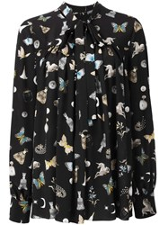 Alexander Mcqueen Printed Pussy Bow Blouse Black