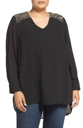 Melissa Mccarthy Seven7 Plus Size Women's Beaded Shoulder High Low Blouse
