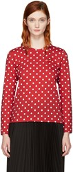 Comme Des Garcons Play Red Long Sleeve Polka Dot Heart Patch T Shirt