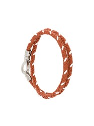 Tod's Interlaced Leather Bracelet Brown