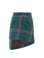 Vivienne Westwood Asymmetric Tartan Wool Twill Skirt Green Multi