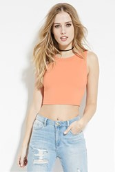 Forever 21 Round Neck Crop Top Coral