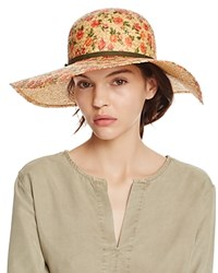 Bettina Floral Print Straw Floppy Sun Hat With Ribbon Trim Multi Olive