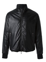 Emporio Armani Leather Bomber Jacket Black
