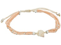 Chan Luu 6 1 3 Adjustable Seed Bead Single W Shell Charm Salmon Bracelet Orange