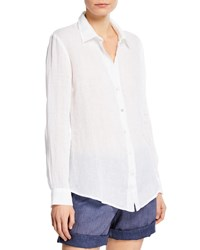 120 Lino Collared Button Front Linen Shirt White