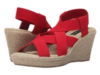 Steven Janenn Red Fabric Women's Wedge Shoes