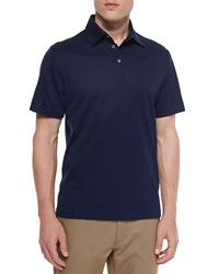Ermenegildo Zegna Cotton Silk Pique Polo Shirt Navy