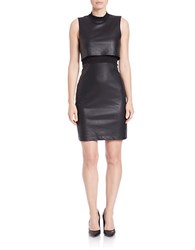 French Connection Faux Leather Mockneck Sheath Dress Black
