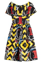 Moschino Printed Silk Cocktail Dress Multicolor