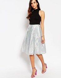 Lashes Of London Spectrum Holograph Midi Skirt Metallic