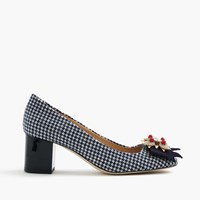 J.Crew Collection Jeweled Heels In Houndstooth Ivory Navy