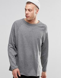 Weekday Goliath Crew Sweatshirt Raw Hem Grey Melange 06 101