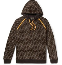 Fendi Logo Print Cotton Jersey Hoodie Brown