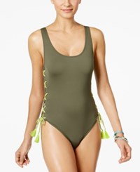 Vince Camuto Lace Up One Piece Swimsuit Women's Swimsuit Green
