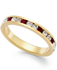 Traditions Red And Clear Swarovski Crystal Ring In Gold Over Sterling Silver 2Mm