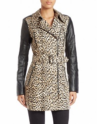 Guess Faux Leather Sleeve Trench Coat Animal Print