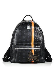 Mcm Munich Lion Backpack Black