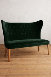 Anthropologie Velvet Wingback Bench Armless Forest
