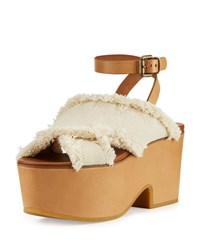 See By Chloe Adele Frayed Canvas Platform Clog Sandal Latte White