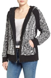 Junior Women's Volcom 'Kindred' Cable Zip Front Cardigan