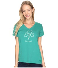 Life Is Good Shamrock Hearts Crusher Vee Jungle Green Women's T Shirt Olive