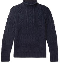 Ralph Lauren Purple Label Cable Knit Wool And Cashmere Blend Mock Neck Sweater Midnight Blue