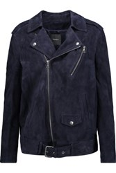Theory Tralsmin Suede Biker Jacket Midnight Blue