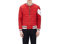 Moncler Gamme Bleu Men's Down Quilted Nylon Bomber Jacket Red White