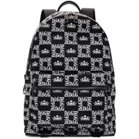 Dolce And Gabbana Black Checkered Dg Crown Backpack