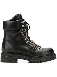 Albano Buckled Strap Combat Boots Black