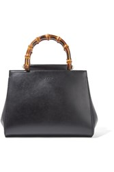 Gucci Nymphaea Bamboo Small Leather Tote Black