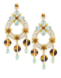 Rj Graziano Cabochon And Crystal Drop Hoop Earrings Multi