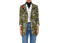 Mr And Mrs Italy Women's Camouflage Cotton Canvas Field Jacket Dark Green