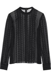 Elizabeth And James Sophia Lace Trimmed Silk Georgette Blouse Black