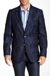 Robert Graham Albert Bridge Camouflage Two Button Notch Lapel Wool Sports Coat Blue