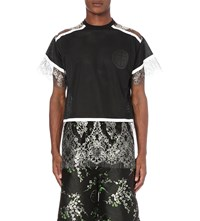 Astrid Andersen Lace Detail Perforated T Shirt Black Silver