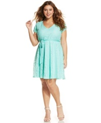 Love Squared Plus Size Short Sleeve Lace A Line Dress