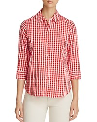 Foxcroft Sue Crinkled Gingham Button Down Shirt Ruby Red