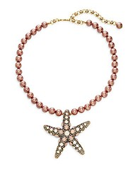 Heidi Daus Faux Pearl Crystal Starfish Pendant Necklace Pink