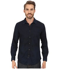 Calvin Klein Jeans Dark Spray Wash Denim Shirt Indigo Men's Long Sleeve Button Up Blue