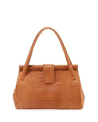 Nancy Gonzalez Textured Crocodile Satchel Bag Light Brown