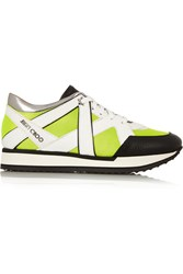 Jimmy Choo London Neon Mesh And Leather Sneakers Green