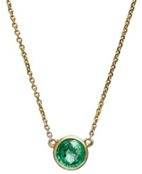 Macy's 10K Gold Necklace Emerald Bezel Set Pendant 1 2 Ct. T.W.