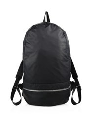 Z Zegna Medium Leather Gym Backpack Black