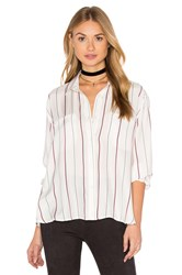 David Lerner Draped Silk Blouse White